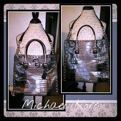 Michael Kors Studded Large Ombre Croc Hamilton bag Has double hand/arm straps & a shoulder strap, with silver chain. Fob is in place on the front, and the key unlocks the heavy lock :)  Clean as new! (Yes, it's authentic) I only carried it a couple of times, so it's in beautiful condition! I won't even carry a PEN in my bags, so..they stay very clean! 4 int slip pockets, + 1 lrg zipper compartment. Beautiful! (Black/Gray/Silver) Non smoking home. Michael Kors Bags Totes