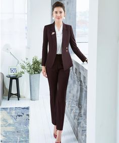 Spring Summer Formal Elegant Women's Pant Suit for Ladies Business Suits Blazer and Jacket Sets Work Wear Office Uniform - Work fashion - Casual Office Attire, Office Outfits, Work Attire, Outfit Work, Casual Wear, Work Wear Office, Office Uniform, Office Chic, Classic Work Outfits