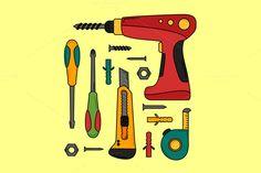 Handyman equipment by MarioMovement on Creative Market