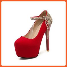 0926531f5c30 AllhqFashion Women s Spikes Stilettos Solid Buckle Frosted Round Closed Toe  Pumps-Shoes