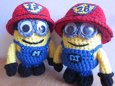 Ravelry: Firefighter Minions pattern by Melissa's Crochet Patterns Two patterns in One! Your choice to make an evil minion or regular minion or a one of each. Minions 4, Minion Baby, Evil Minions, Minion Crochet Patterns, Minion Pattern, Knitting Patterns, Crochet Minions, Owl Patterns, Free Knitting
