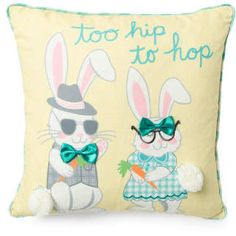 18x18 Too Hip To Hop Pillow. Super cute fun pillow to accessorize a casual space or themed room. #pillows #funkthishouse #afflnk