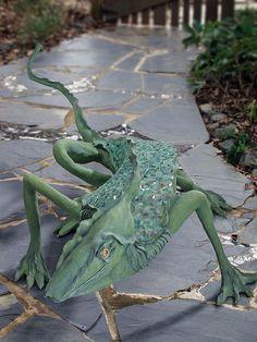 Faducci...hand sculpted concrete, Iguana