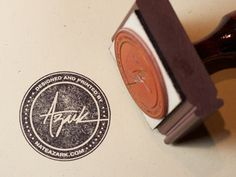 Self promotion idea. If you do nothing else - at minimum get a rubber stamp made of your logo, get an ink pad from Walmart and put your stamp on your stuff! Corporate Design, Brand Identity Design, Business Card Design, Logo Design, Print Design, Custom Design, Corporate Branding, Design Design, Rundes Logo