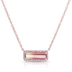 14KT Rose Gold Watermelon Tourmaline Short Diamond Bar Necklace Bar measures approximately 1/2