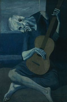 """Pablo Picasso  Spanish, worked in France, 1881–1973.  The Old Guitarist, late 1903–early 1904    Oil on panel  48 3/8 x 32 1/2 in. (122.9 x 82.6 cm)  signed, l.r.: """"Picasso""""  Helen Birch Bartlett Memorial Collection, 1926.253    © Estate of Pablo Picasso / Artists Rights Society (ARS), New York"""