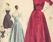Sewing Pattern Vogue Special Design 1950s Vintage Wiggle Dress Slim Fit Skirt Back Pleats Fitted Bodice Cap Sleeves Low Scoop Neck Bust 34
