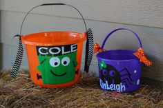 Large and Small personalized halloween buckets.  Small $10.00 Large $15.00