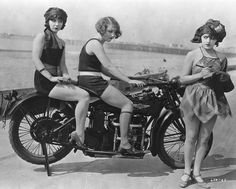 From Film Noir Photos: Mack Sennett Bathing Beauties Margaret Cloud, Gladys Tennyson and Elsie Tarron in Down to the Sea in Shoes (1923). Let me tell you -- those gals aren't going anywhere unless they sort out the kick-stand...