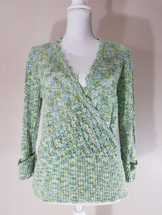 SUNDANCE Catalog Womens Crochet Stretch Knit Ribbed Trim Sweater Top $88 SZ M #Sundance #WrapSwing