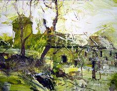 David Tress 'Early April (Worth Matravers, Dorset)', mixed media on paper… Landscape Artwork, Abstract Landscape Painting, Watercolor Landscape, Abstract Art, Abstract Paintings, Madrid, Building Art, A Level Art, Spring Art