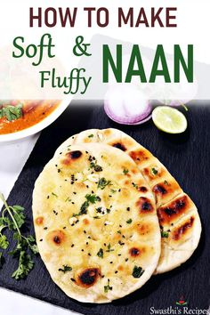 Easy naan recipe without yeast. These soft, fluffy and delicious naans are super easy to make at home & go well with any Indian curry - No Yeast Naan Recipe Naan Recipe Video, Easy Naan Recipe, Nan Recipe, Naan Recipe Without Yeast, Recipes With Naan Bread, Easy Naan Bread Recipe No Yeast, Indian Naan Bread Recipe, Indian Food Recipes, Beef Recipes