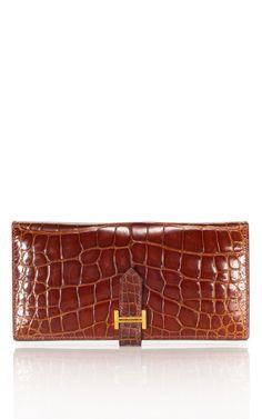 Vintage Hermes Miel Shiny Bearn wallet