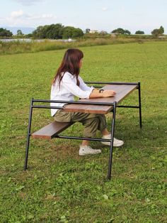 Camping Table - Thinking Of Taking A Camping Trip? Nomadic Furniture, Pipe Furniture, Steel Furniture, Furniture Design, Camping Style, Diy Camping, Camping Furniture, Iron Work, Table Legs