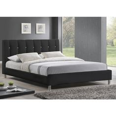 Baxton Studio Vino Modern Bed Frame with Upholstered Headboard - Listing price: $361.99 Now: $299.76