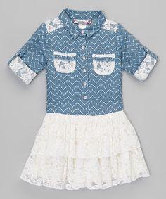 Look what I found on #zulily! Blue & White Chevron Button-Up Dress - Toddler by Speechless #zulilyfinds