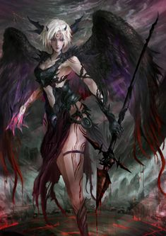 Fantasy Warrior, Fantasy Girl, Angel Warrior, Fantasy Art Women, Fantasy Races, Dark Fantasy Art, Fantasy Artwork, Dark Art, Anime Angel