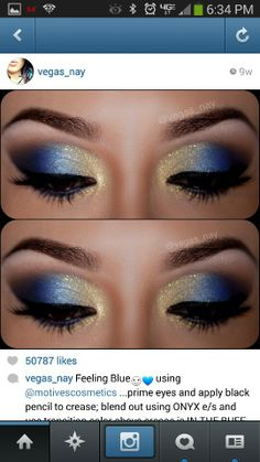 12 Gorgeous Blue and Gold Eye Makeup Looks and Tutorials Beautiful blue and gold smokey eye makeup - Das schönste Make-up Gold Eyeliner, Gold Eye Makeup, Smokey Eye Makeup, Beauty Makeup, Smoky Eye, Mermaid Eye Makeup, Peacock Eye Makeup, Disney Eye Makeup, Butterfly Makeup