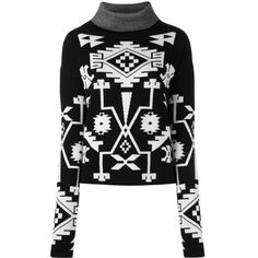 Marcelo Burlon County Of Milan 'Longavi' jumper (£430) ❤ liked on Polyvore featuring tops, sweaters, black, rollneck sweaters, intarsia sweater, long sleeve jumper, long sleeve tops and long sleeve sweater