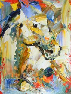 White Knight Abstract Horse Painting by Texas Equine Artist, Laurie Pace, The Painted Ponies 2011, TIME, painting by artist Laurie Justus Pace