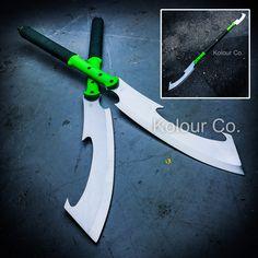 "55"" DUAL BLADE Fixed Machete SWORD SPEAR Martial Arts Fantasy Cosplay Japanese Naginta"