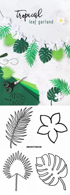 Luau or summer party coming up? Your party decor wouldn't be complete without this DIY Tropical Leaf Garland! Plus, learning how to create your own paper ferns and fauna is sure to become your new favorite craft technique. Recipes With Fruit Cocktail, Deco Jungle, Jungle Theme, Safari Theme, Hawaian Party, Papier Diy, Diy Y Manualidades, Leaf Garland, Party Garland
