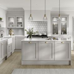 Take a look at our new Chilcomb Dove Grey kitchen cabinets. Whether you want to create rustic home decor, a modern cottage interior or are after a country farmhouse decor look, this Shaker kitchen is Grey Kitchen Designs, Kitchen Room Design, Modern Kitchen Design, Home Decor Kitchen, Interior Design Kitchen, Home Kitchens, Howdens Kitchens, Modern Grey Kitchen, Shaker Kitchen Interior
