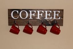 Coffee Cup Rack, Coffee Sign with Hooks, Kitchen Decor, Cup Hanger, Wood Sign, Wall Art, Custom
