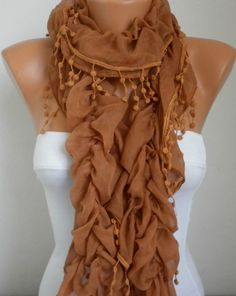 Caramel Ruffle Cotton ScarfFall Fashion Scarf Cowl Scarf by anils