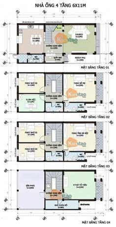 Thiết kế kiến trúc, Nhà ống 4 tầng 6x11m, Cách phân bổ công năng nhà ống 4 tầng, nhà đẹp