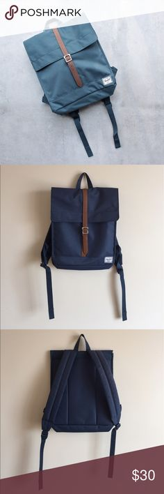 Herschel City Backpack in Navy This is SUCH a cute backpack! I've been in love with Herschel for years and this is my favorite style backpack of theirs. This one is a lovely navy color and doesn't have any real damage to speak of. Price negotiable. Herschel Supply Company Bags Backpacks
