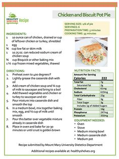 Chicken and Biscuit Pot Pie from Healthy Shelves.