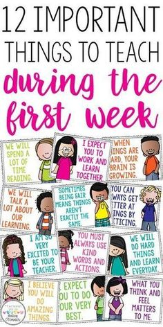 First grade classroom - 12 important things to teach during the first week Great discussion starters to build classroom community Motivational posters for the classroo m First Grade Classroom, Kindergarten Classroom, School Classroom, Future Classroom, Classroom Ideas, Morning Meeting Kindergarten, Morning Meeting Activities, First Day Of School Activities Ks2, Morning Meeting First Grade