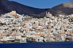 Pastel colours, Ermoupolis town Pastel Colours, Greek Islands, More Photos, Mount Everest, Greece, Wanderlust, Mountains, Travel, Greek Isles
