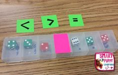 Dice in pill containers for comparing numbers place value addition and subtraction Lots of game ideas Math Strategies, Math Resources, Math Activities, Multiplication Strategies, Math Stations, Math Centers, 2 Kind, Math School, Math Intervention