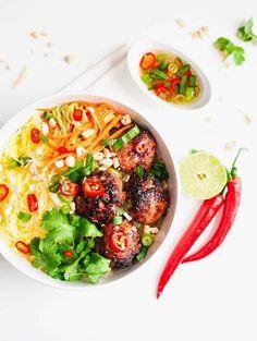 Vietnamese Caramelized Pork Meatball Vermicelli Bowls.