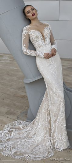 NOYA By Riki Dalal Wedding Dresses Spring 2019 : Forever Bridal Collection - ROSE. Long sleeves plunging sweetheart neckline full embroidered elegant glamorous sheath fitted wedding dress. Backless chapel train sexy modern bridal gown. #weddingdress #weddingdresses #bridalgown #bridal #bridalgowns #weddinggown #bridetobe #weddings #bride #weddinginspiration #weddingideas #bridalcollection #bridaldress #fashion #dress See more gorgeous bridal gowns by clicking on the photo