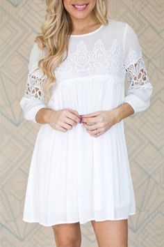 GET $50 NOW | Join RoseGal: Get YOUR $50 NOW!http://www.rosegal.com/cute-dresses/chic-round-neck-3-4-sleeve-cut-out-pure-color-women-s-dress-474104.html?seid=5904674rg474104