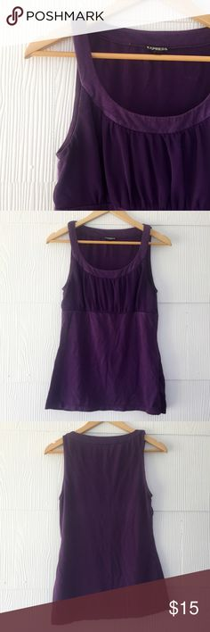 Express Purple Chiffon and Knit Top Purple tank top by Express, knit with chiffon detailing at the bust. Size Medium. Excellent used condition, perfect paired with a cardigan for the office or a pencil skirt for a night out with the girls! Express Tops Tank Tops