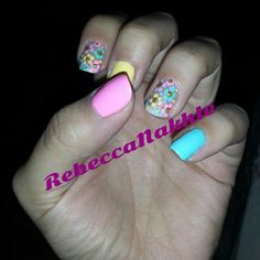 Spring Colorful Flower Nails