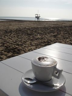Cappucino on the beach @Suzy Mitchell Fellow Guigal sleyter, Italy