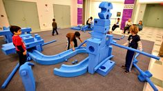 Creation Station Giant Tinker Toys 2012 Franklin Institute (73), via Flickr. #playground #children #play #fun #playgroundequipment #school #indoors
