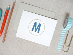 Monogram No. 3 Stationery Set of 10 Folded by MeredithColliePaper, $15.00