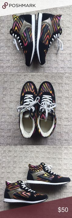 Tribal sneakers Multicolored tribal print sneakers. Black sneakers with pink, orange, yellow tribal print Shoes Athletic Shoes