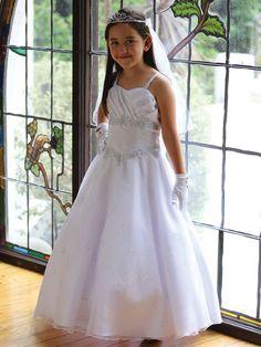 White  Satin Communion Dress with Organza Skirt