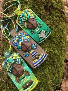 39 $ Click to buy!) African jewelry for woman,Polymer clay pendant,Tribal necklace,Boho jewelry,Ethnic pendant,Woman gift jewelry,Green necklace,African art