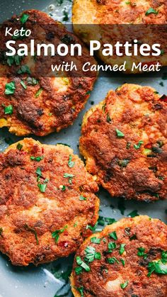 """Salmon Patties with Canned Meat """"An easy low carb keto salmon patties recipe that uses canned fish and pork rinds. It only takes minutes to make the patties and fry them in a pan."""" Keto Salmon Patties with Canned Meat – You must try this recipe. Cena Keto, Salmon Patties Recipe, Healthy Salmon Patties, Canned Salmon Patties, Healthy Salmon Cakes, Fried Salmon Patties, Fish Patties, Salmon Croquettes, Salmon Burgers"""
