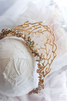 ARIAL  Gold  Crystal  Pearl  Bridal Head by WhiteGloveBoutique