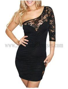 Affordable Clubbing Dress Short Mini 34 Sleeve One Shoulder Black Pencil Women Special Occasion Dresses