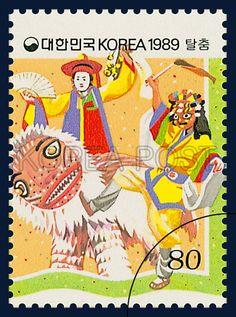 POSTAGE STAMP FOR FOLKWAYS SERIES(Ⅳ), talchum, traditional culture,  yellow, green, red, 1989 02 25, 민속 시리즈(여섯번째묶음), 1989년 02월 25일, 1558, 탈춤, postage 우표